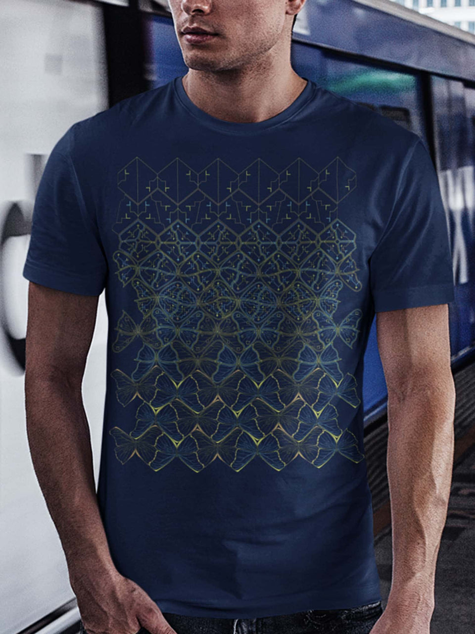 Butterfly Morph Made To Order Men T-Shirt - Navy Blue