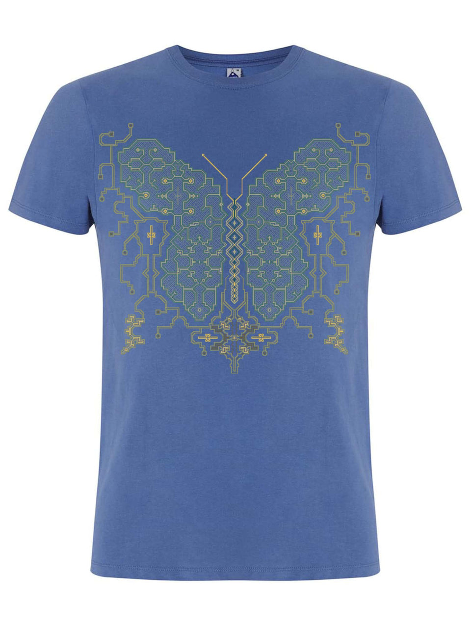 Shipibo Butterfly Made To Order Men T-Shirt - Faded Denim
