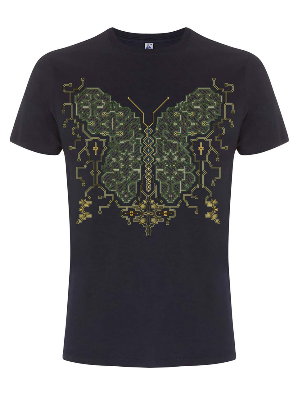 Shipibo Butterfly Made To Order Men T-Shirt - Navy Blue