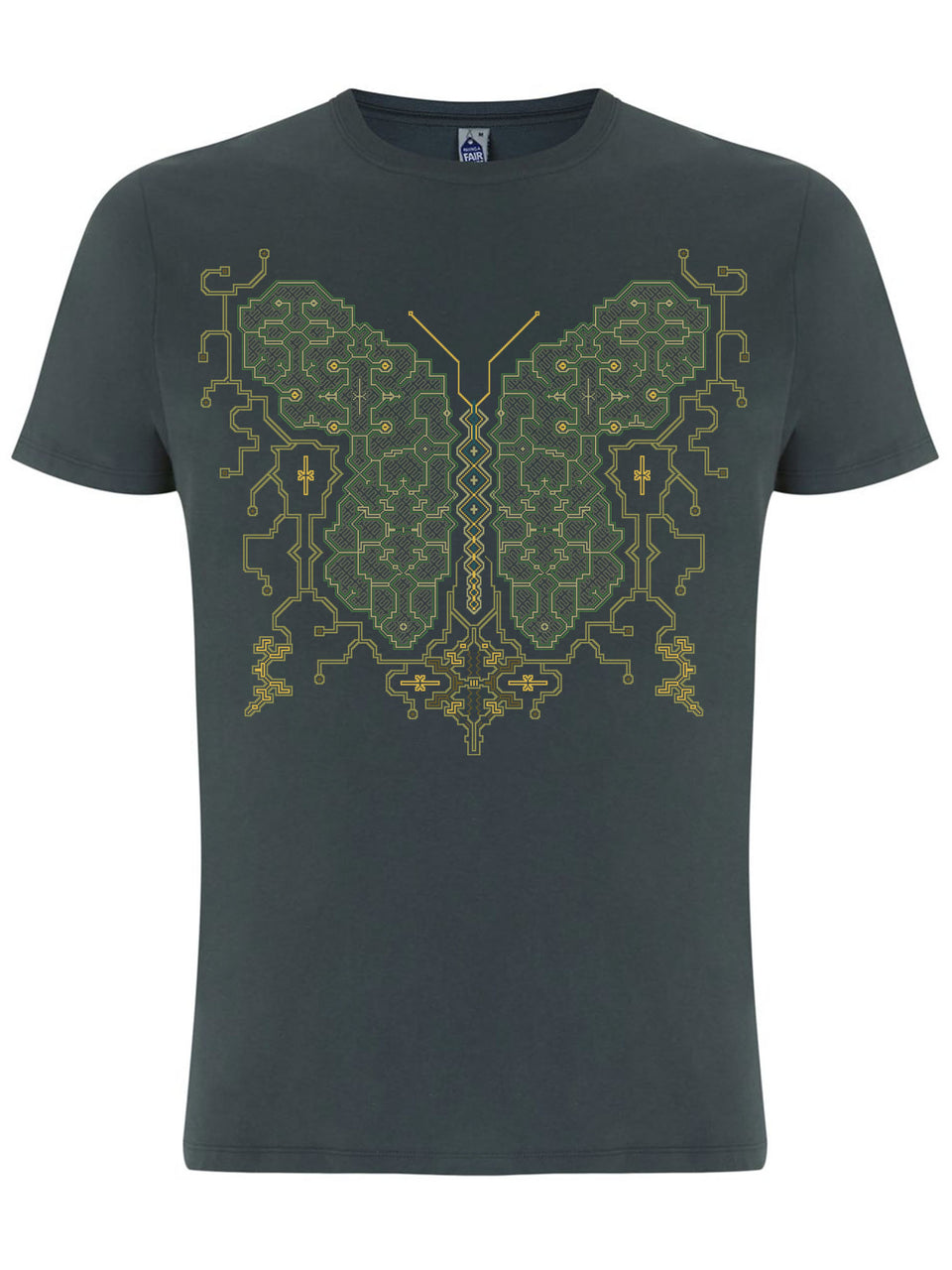 Shipibo Butterfly Made To Order Men T-Shirt - Light Charcoal