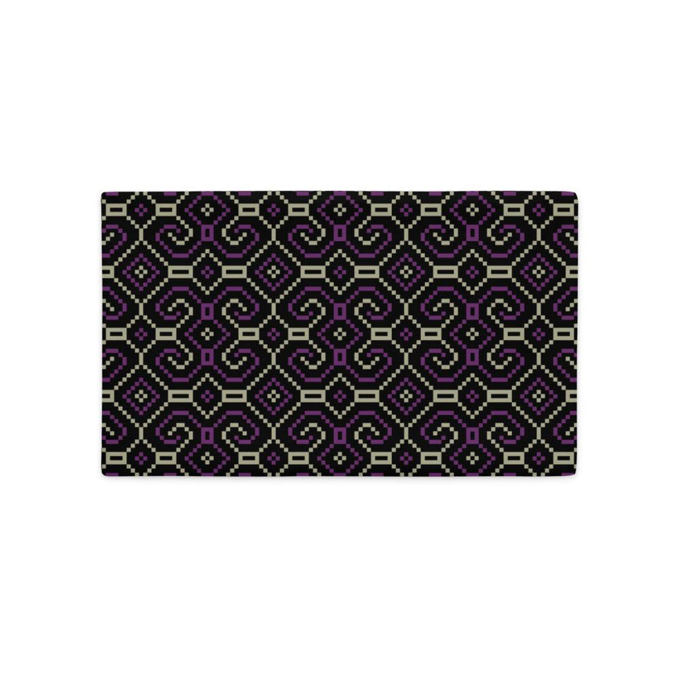 Shipibo-Conibo Cushion - Purple Beige on Black