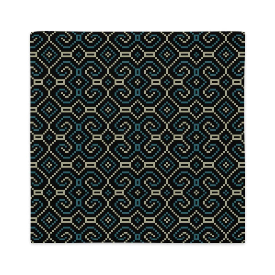 Shipibo-Conibo Cushion - Turquoise Beige on Black