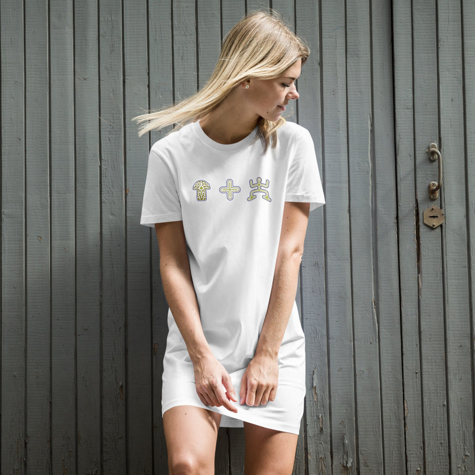 Mushroom Plus Party Organic cotton t-shirt dress - White - Made to Order