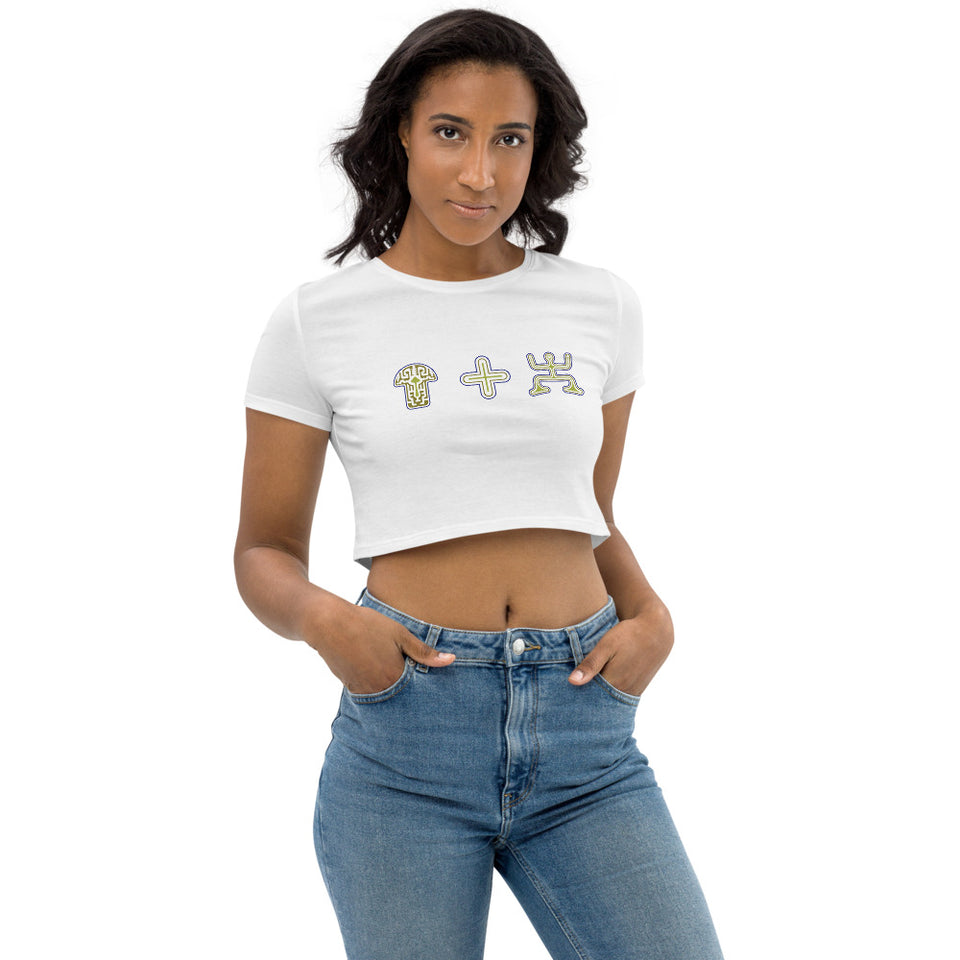Mushroom Plus Party Organic Crop Top - White - Made to order