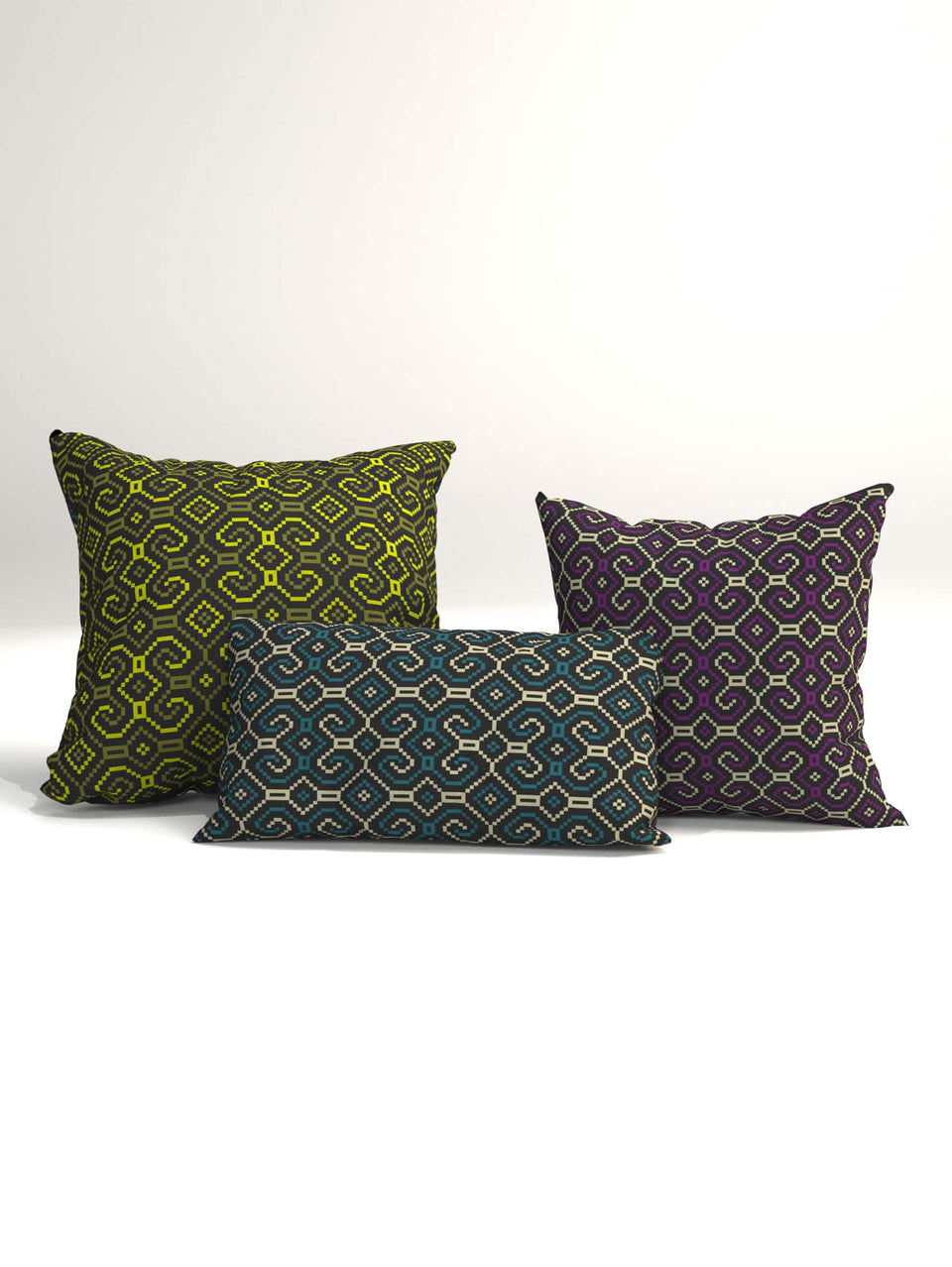 Shipibo-Conibo Cushion - Purple Olive on Black
