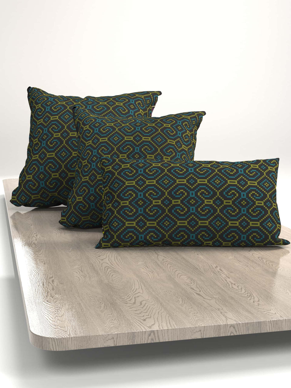 Shipibo-Conibo Cushion - Turquoise Olive on Black