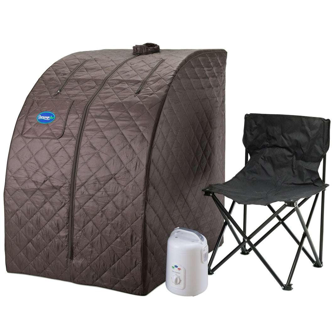 Personal Steam Sauna for Weight Loss, Detox & Relaxation at Home, Chair Included - Black Coffee