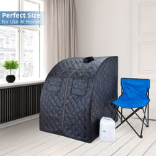 Oversized Portable Steam Sauna for Weight Loss, Detox & Relaxation at Home, Chair Included - Dark Blue
