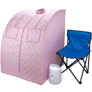 Oversized Portable Steam Sauna for Weight Loss, Detox & Relaxation at Home, Chair Included - Pink