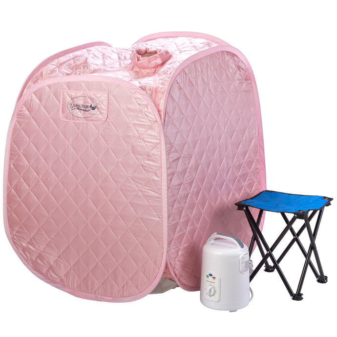 Personal Foldable Steam Sauna for Weight Loss, Detox & Relaxation at Home, Chair Included (Light Pink)