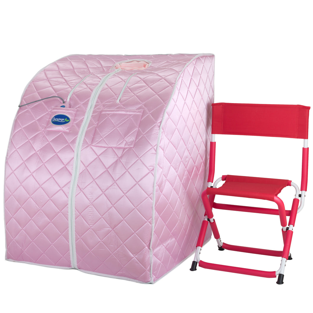 Large Portable Low EMF Negative Ion Indoor Sauna with Chair and Heated Footpad Included - Light Pink