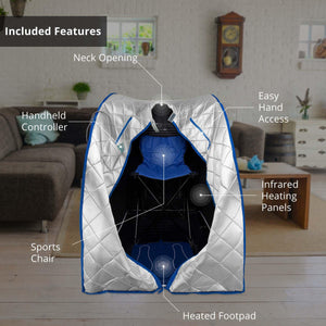 Infrared Heated Personal Sauna with Heating Foot Pad and Chair