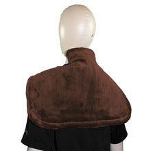 Therapeutic Heated Shoulder Neck Wrap Heating Pad w/ Magnetic Clasp - Brown