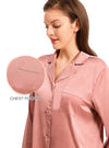 Pajama Set for Women Long Sleeve Button-Down Sleepwear