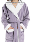 Robes for Women Hooded Bathrobe Velveteen Fleece Robe