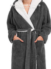 Robes for Women Reversible Fleece Robe Shu Velveteen Bathrobe with Hood