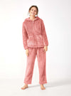 Pajama Set For Women Hooded Long Sleeve with Zipper Soft Velveteen Loungewear