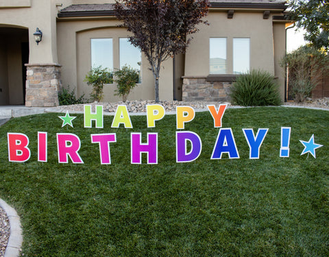 happy birthday yard sign, happy birthday yard sign with stakes, large happy birthday yard sign, colorful happy birthday yard sign, gender neutral happy birthday yard sign