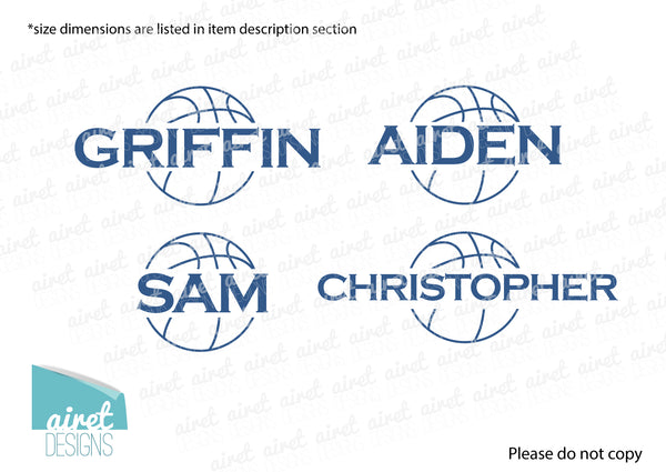 Basketball Custom Name - Vinyl Decal Boys Sports Room Bedroom Teen Teenager Child Kid Childrens Wall Art Home Decor Sticker v2