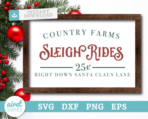 Country Farms Sleigh Rides - Digital Cut File Download SVG EPS DXF PNG