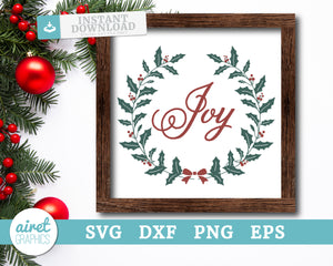 Joy wreath - Digital Cut File Download SVG EPS DXF PNG