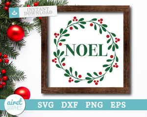 Noel wreath - Digital Cut File Download SVG EPS DXF PNG