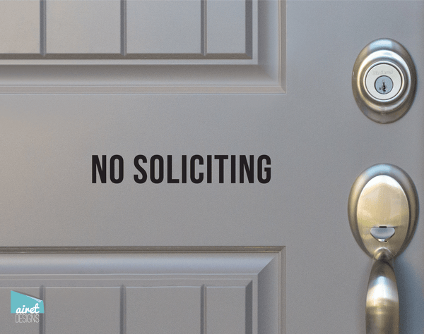 No Soliciting - Vinyl Decal Sticker Sign Caps v2