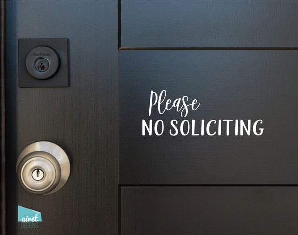 Please No Soliciting - Vinyl Decal Sticker Sign v2