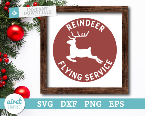 Reindeer Flying Service - Digital Cut File Download SVG EPS DXF PNG