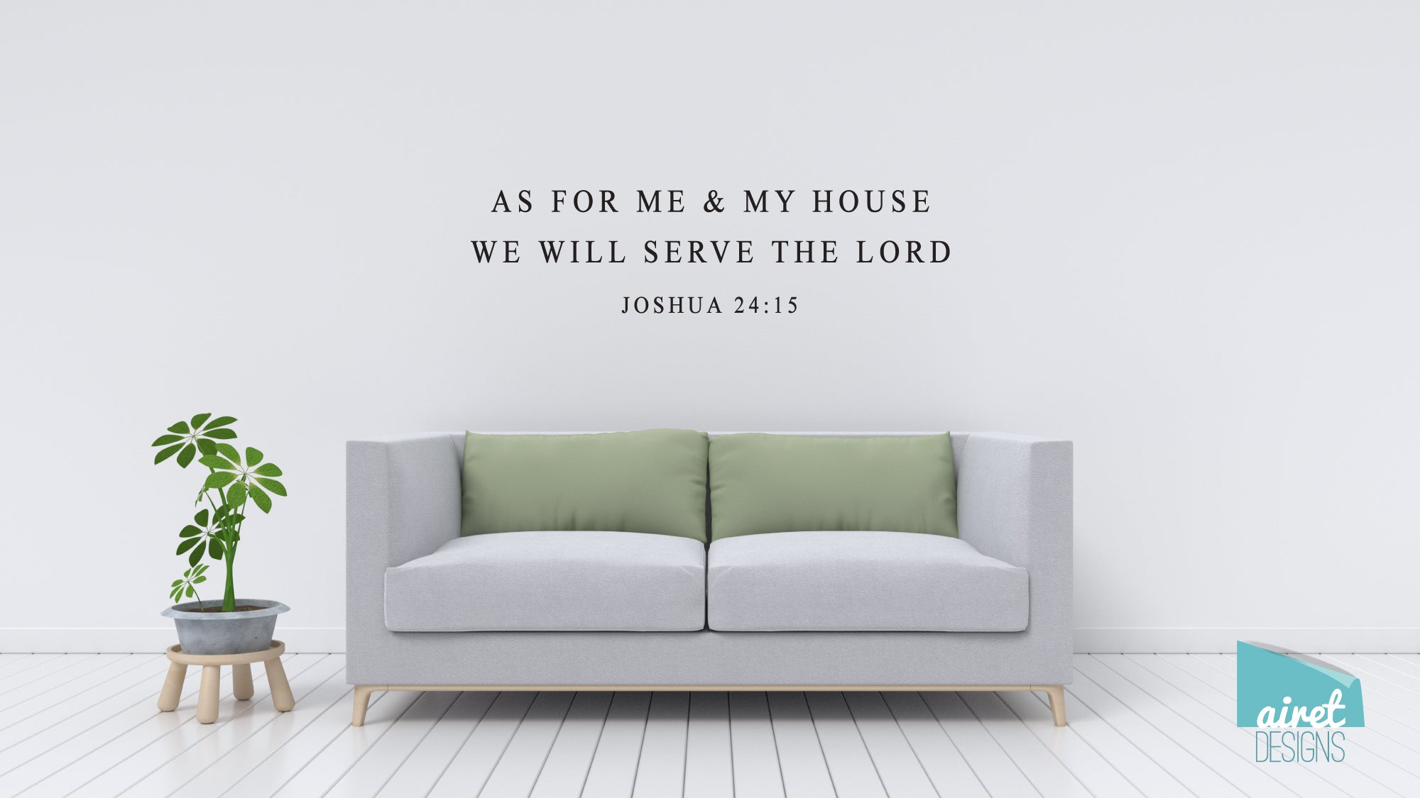 As For Me And My House We Will Serve The Lord - Vinyl Decal Wall Art Decor Sticker - scripture simple minimal Christian home sticker v3