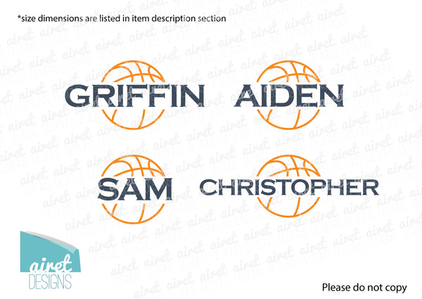 Basketball Custom Name - Vinyl Decal Boys Sports Room Bedroom Teen Teenager Child Kid Childrens Wall Art Home Decor Sticker v2 color