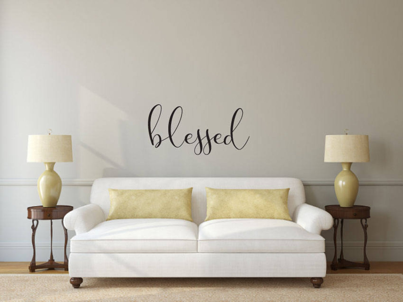 Blessed - Vinyl Decal Wall Art Decor Sticker - Home Decor Bedroom Nursery Baby Living Area House Warming Family Entry Hall Welcome Outdoor
