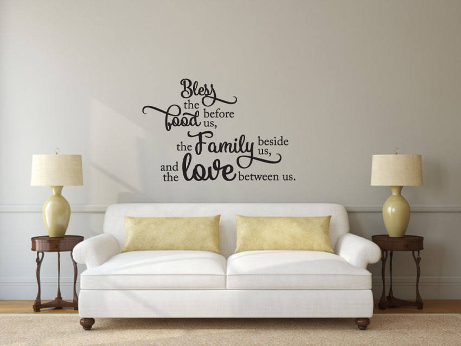 Bless the Food - Vinyl Decal Wall Art Decor Sticker - Home Decor House Living Area House Warming Welcome Family