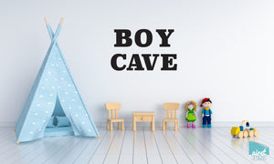 Boy Cave - Vinyl Decal Wall Art Decor Sticker - Nursery Baby Newborn Kid Boy Childrens Child Room Decoration v3
