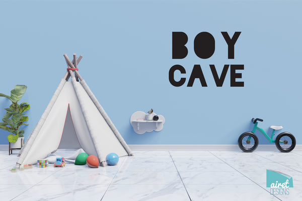 Boy Cave - Vinyl Decal Wall Art Decor Sticker - Nursery Baby Newborn Kid Boy Childrens Child Room Decoration v4