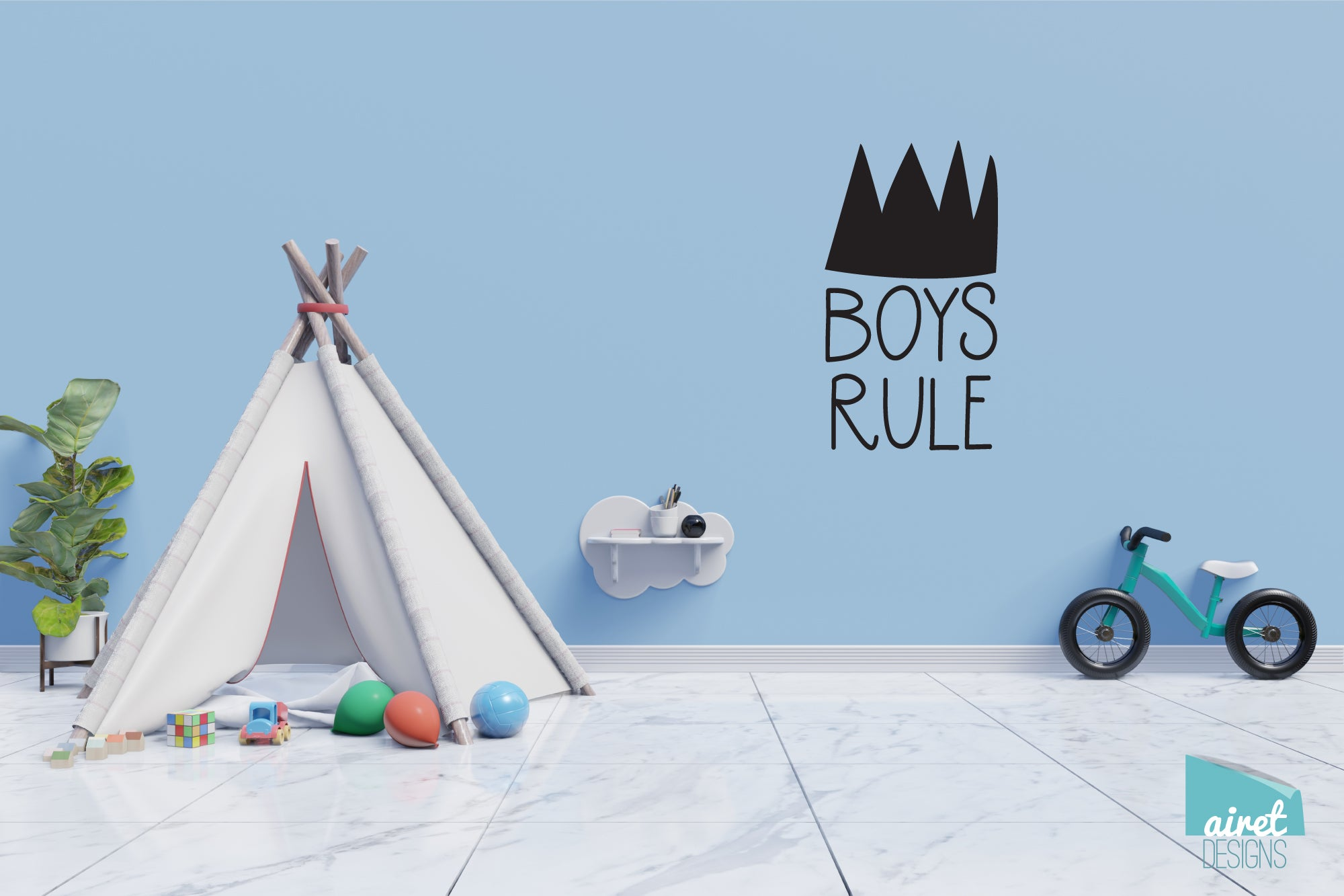 Boys Rule Crown - Vinyl Decal Wall Art Decor Sticker - Nursery Baby Newborn Kid Boy Childrens Child Room Decoration