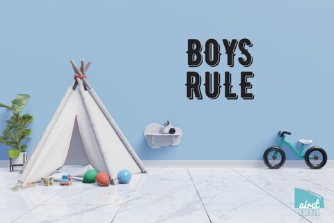 Boys Rule - Vinyl Decal Wall Art Decor Sticker - Nursery Baby Newborn Kid Boy Childrens Child Room Decoration v4