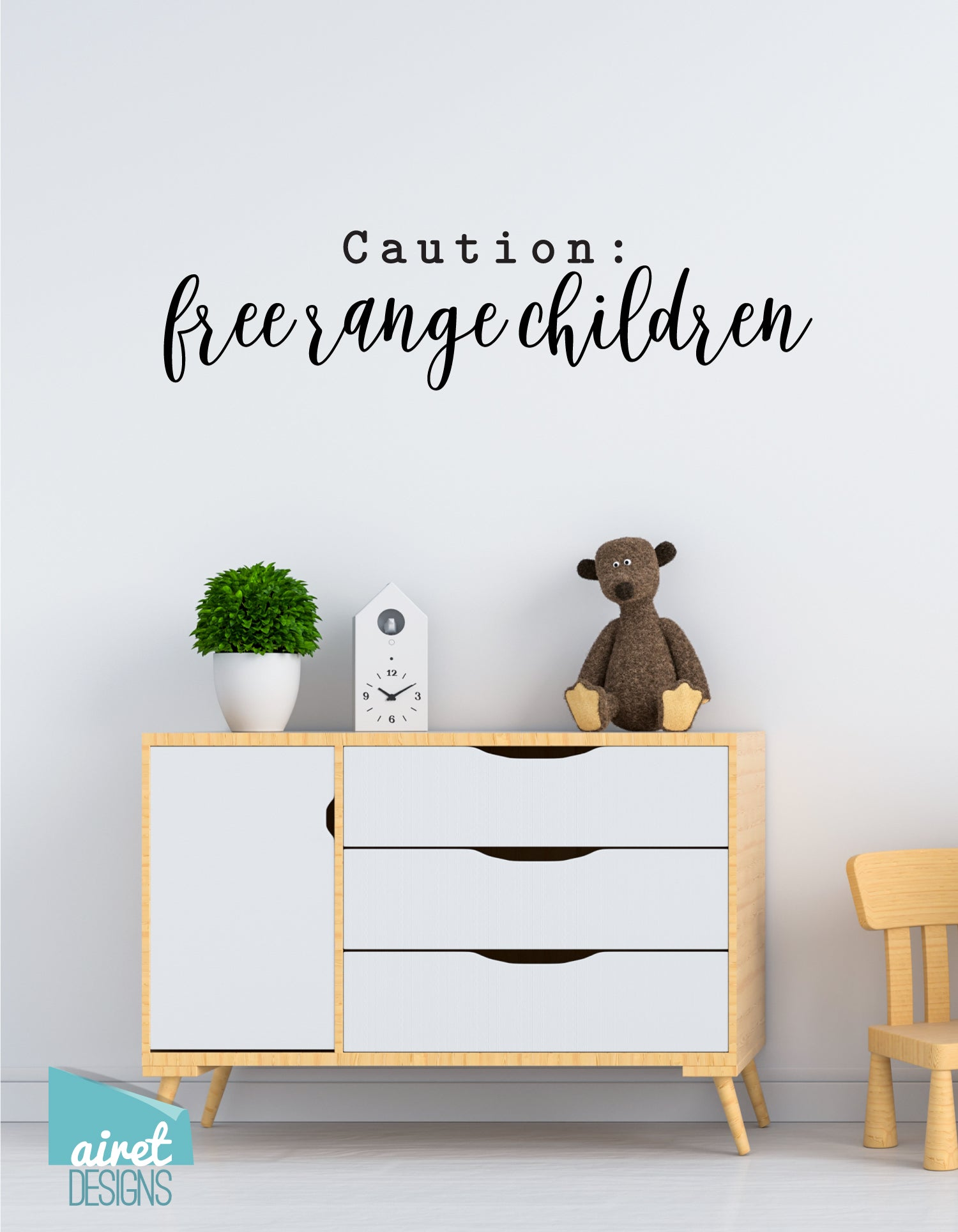 Caution: Free Range Children - Decal Lettering Only! - Vinyl Decal Wall Art Decor Sticker - Home Kids Family DIY Sign v2