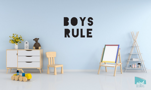 Boys Rule - Vinyl Decal Wall Art Decor Sticker - Nursery Baby Newborn Kid Boy Childrens Child Room Decoration v3