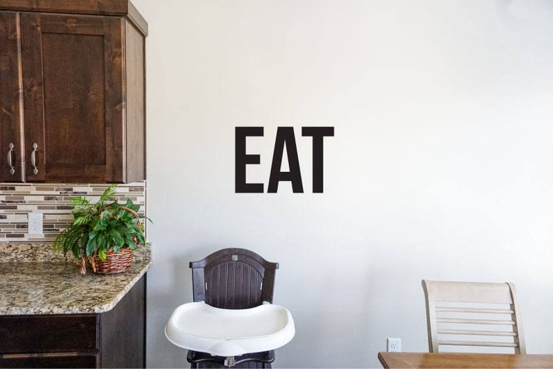 Eat - Vinyl Decal Wall Art Decor Sticker - Home Decor Kitchen Dining Area House Oven Fridge Sink Cooking Bar Table Simple Kitchen decor v2