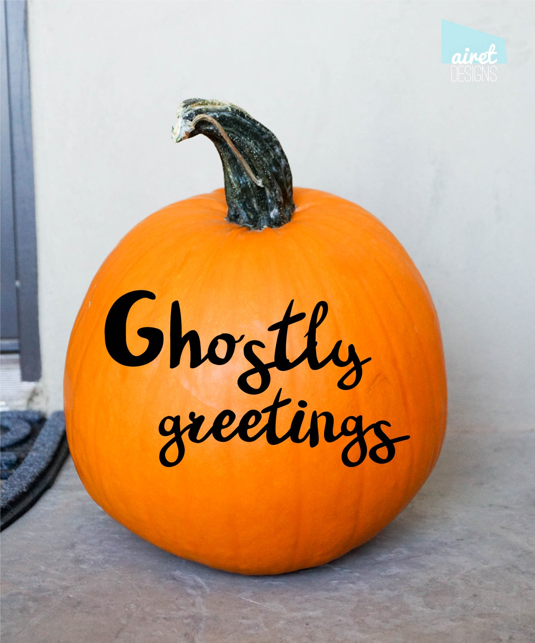 Ghostly Greetings - Halloween Fall Autumn Front Porch Decor Pumpkin Decal Vinyl Sticker - GLOSS