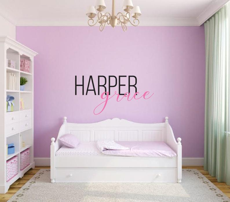 Custom Name - Girls First and Middle Name Graceful Script - Vinyl Decal Wall Art Decor Sticker - Nursery Family Playroom Family Room Bedroom