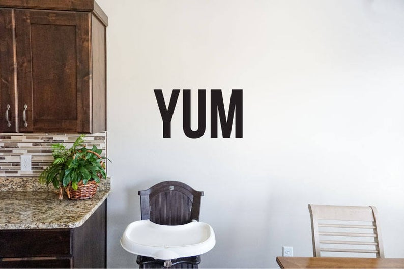 Yum - Vinyl Decal Wall Art Decor Sticker - Home Decor Kitchen Dining Area House Oven Fridge Sink Fun Cooking Bar Table Simple Kitchen Decor v2