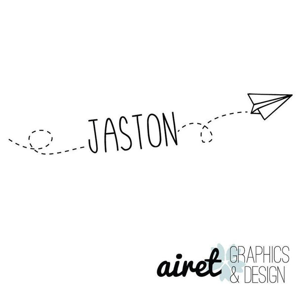 Custom Name/Flying Paper Airplane - Vinyl Decal Wall Art Decor Sticker - Home Decor Child's Bedroom Nursery Baby Boy's Bedroom Playroom