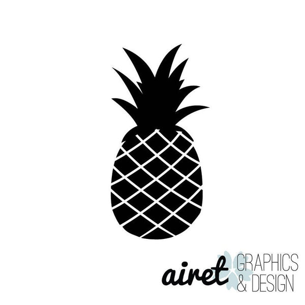 Pineapple - Vinyl Decal Wall Art Decor Sticker - Home Decor Tropical Decor Kitchen Dining Area Family Room Entryway Food Fruit Crown Hawaii