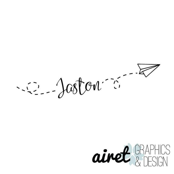 Custom Name/Flying Paper Airplane - Vinyl Decal Wall Art Decor Sticker - Home Decor Child's Bedroom Nursery Baby Boy's Bedroom Playroom v2