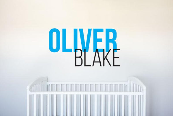 Custom Name - Boys First and Middle Modern Sleek - Vinyl Decal Wall Art Decor Sticker - Nursery Family Playroom Family Living Room Bedroom