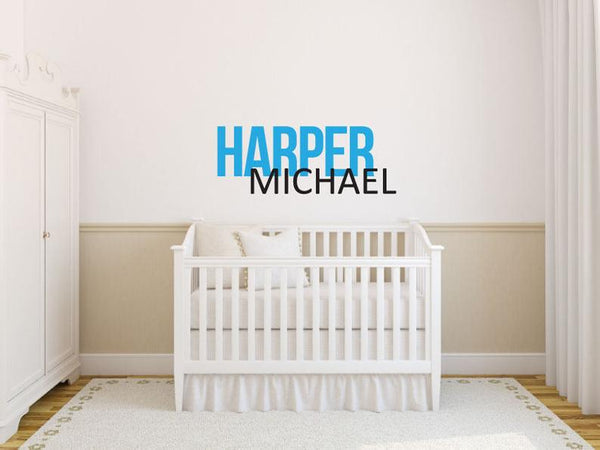 Custom Name - Boys First and Middle Name Smooth Block - Vinyl Decal Wall Art Decor Sticker - Nursery Family Playroom Family Room Bedroom