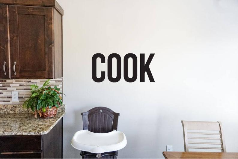 Cook - Vinyl Decal Wall Art Decor Sticker - Home Decor Kitchen Dining Area House Oven Fridge Sink Fun Cooking Bar Simple Kitchen Decor v2