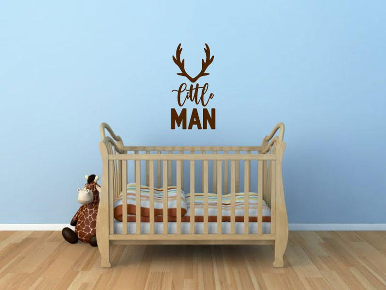 Little Man - Vinyl Decal Wall Art Decor Sticker - Home Decor Nursery Baby Boy's Bedroom Cabin Children's Room Animals